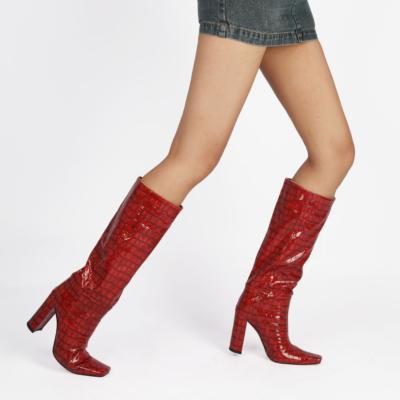 Trendy Croc Print Dress Boots Square Toe Knee High Boots Chunky Heels