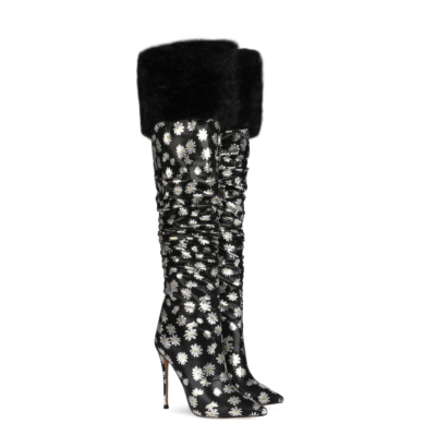 Trendy Furry Daisy Patterns Over the Knee Heeled Boots