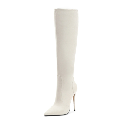 Beige Trendy Suede Pointy Toe Stilettos knee High Boots