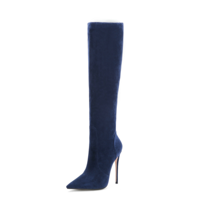 Blue Trendy Suede Pointy Toe Stilettos Knee High Boots
