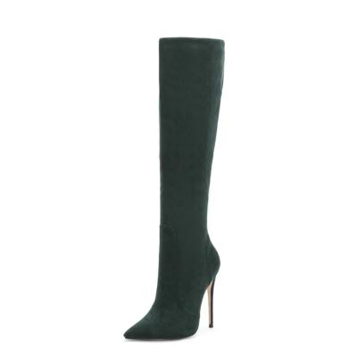 Green Trendy Genuine Suede Pointy Toe Stilettos knee High Boots