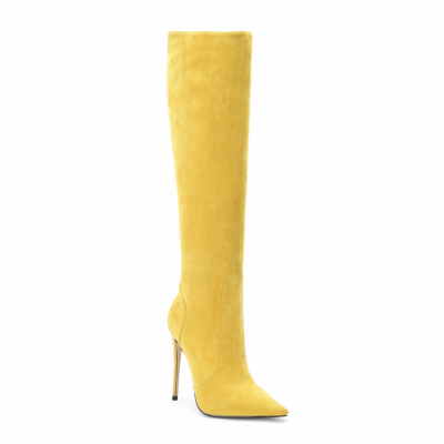 Yellow Trendy Suede Pointy Toe Stilettos knee High Boots