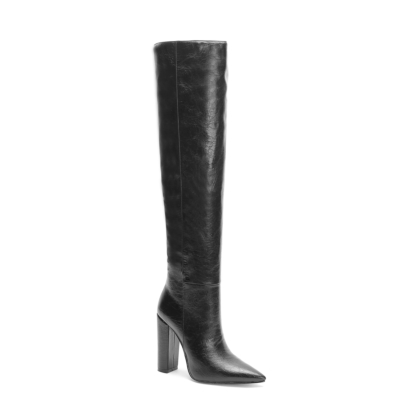 Trendy Leather Pointed Toe Block Heel knee High Boots