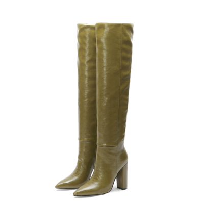 Olive Green Leather Pointed Toe Block Heel knee High Boots
