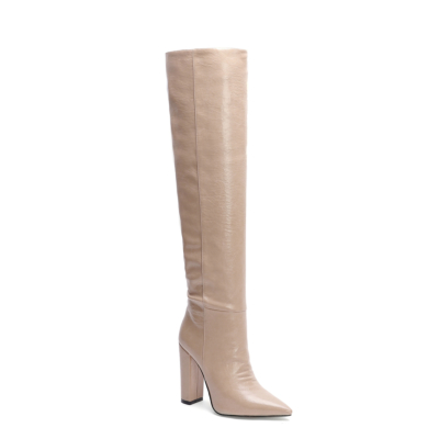 Nude Leather Pointed Toe Block Heel knee High Boots