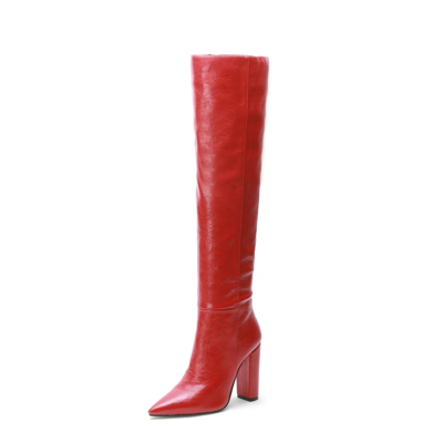 Red Leather Pointed Toe Block Heel knee High Boots