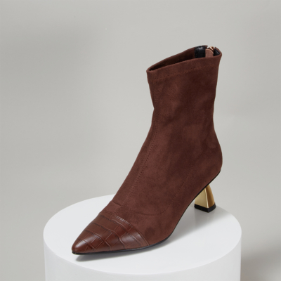 Maroon Trendy Low Heeled Sock Boots Zipper Ankle Boots