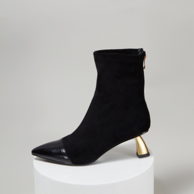 Trendy Low Heeled Sock Boots Zipper Ankle Boots