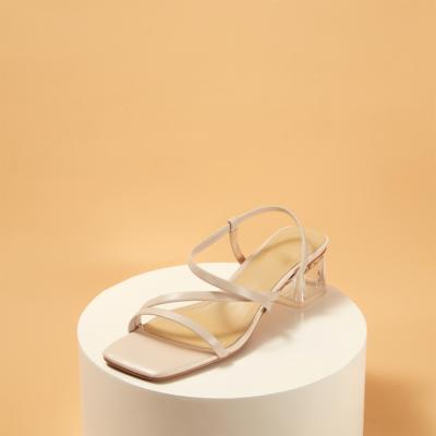 Trendy Open Toe Clear Chunky Heel Sandals