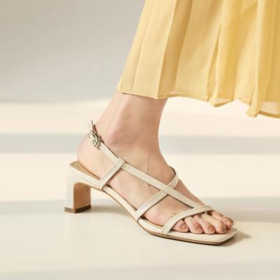 Beige Open Toe Cross Strap Slingback Buckle Chunky Heel Sandals