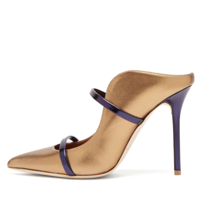 Golden Metallic Two Strap Mule Pumps Dress Stiletto Heel Shoes with Closed Toe