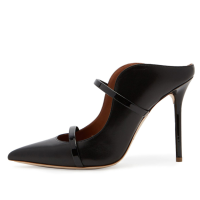 Black PU Two Strap Mule Pumps Dress Stiletto Heel Shoes with Closed Toe