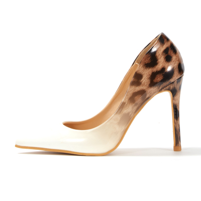 White&Leopard Gradient Heels Bridal Stiletto Heel Pumps
