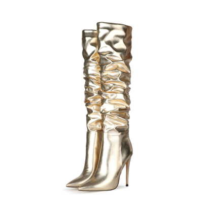 Metallic Plisse Stilettos  Over the Knee Boots