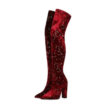 Stars Pattern Velvet Thigh High Boots with Block Heel