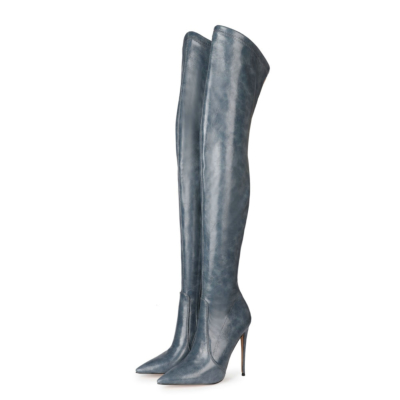 Pointed Slip-on Work Stiletto Thigh High Boots