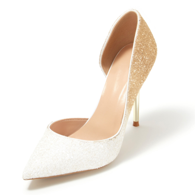 Up2step White&Gold Gradient Glitter Pointed Toe D'orsay Stiletto Heel Sequin Pumps