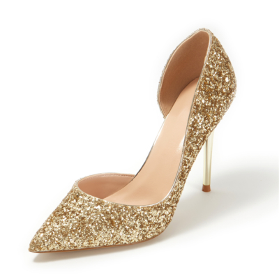 Up2step Golden Glitter Pointed Toe D'orsay Stiletto Heel Sequin Pumps