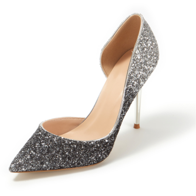 Up2step Black&Silver Gradient Glitter Pointed Toe D'orsay Stiletto Heel Sequin Pumps