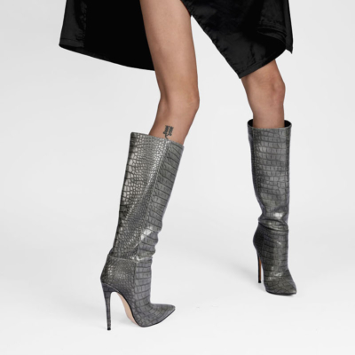 Up2step Grey Sexy Woman Croc-Printed Stiletto Heel Knee High Boots