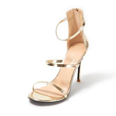 Up2step Golden Metallic Open Toe Sexy Sandals Triple Straps Heeled Sandal