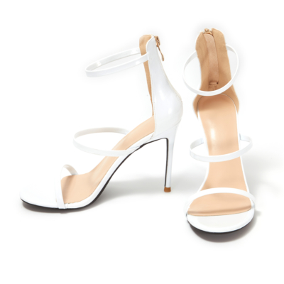 Up2step White Patent Leather Triple Strap Open Toe Dancing Heeled Sandals