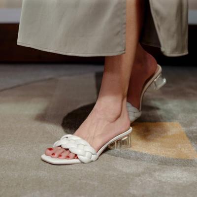 White Sqaure Toe Padded Sandals Clear Heel Mule