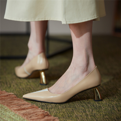 Nude V Vamp Metal Low Heel Shoes Office Leather Pumps with Pointed Toe