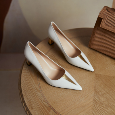 White V Vamp Metal Low Heel Shoes Office Leather Pumps with Pointed Toe