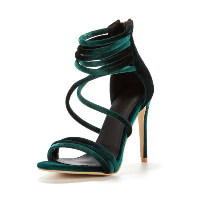 Green Velvet Gladiator Strappy High Heels Criss Cross Zipper Sandals
