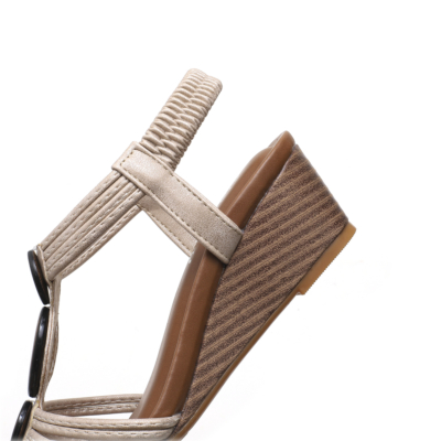 Vintage Beach Hollow Out T-strap Gladiator Wedge Sandals for Woman