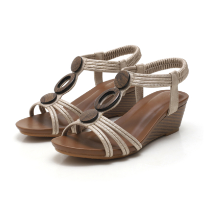 Apricot Vintage Beach Hollow Out T-strap Gladiator Wedge Sandals for Woman