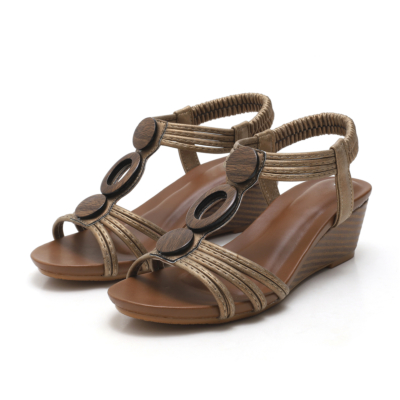 Brown Vintage Beach Hollow Out T-strap Gladiator Wedge Sandals for Woman