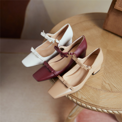 Vintage Bow Buckle Mary Jane Shoes Chunky Heels Square Toe Pumps For Womens