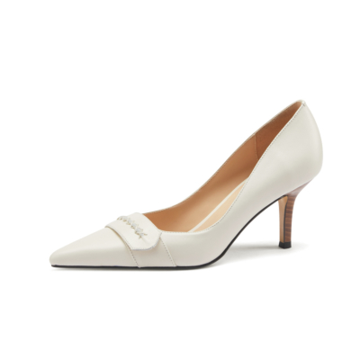 Vintage Leather Pointy Toe Wooden Stilettos Heel Pumps 2021 Shoes