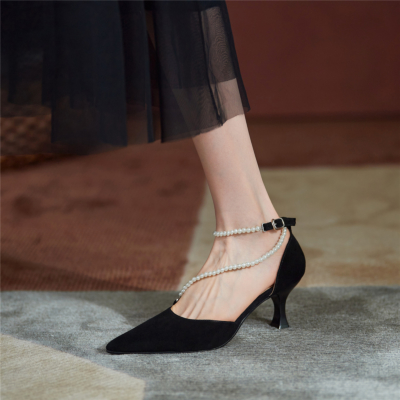 Black Vintage Pearl Strap D'orsay Pumps Medium Heel Buckle Shoes for Wedding