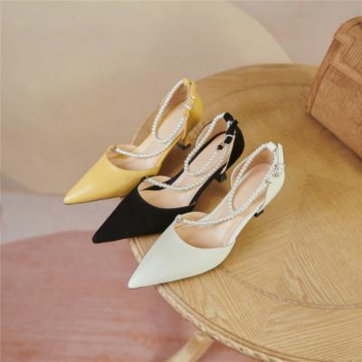 Vintage Pearl Strap D'orsay Pumps Medium Heel Buckle Shoes for Wedding