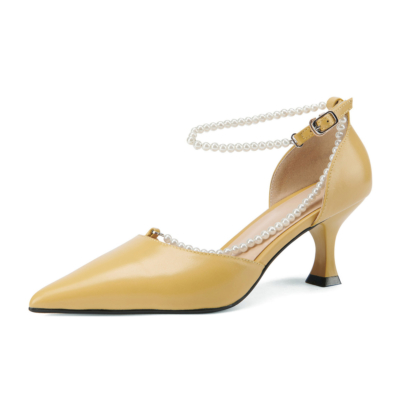 Yellow Vintage Pearl Strap D'orsay Pumps Medium Heel Buckle Shoes for Wedding
