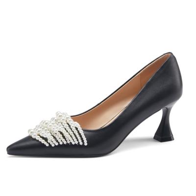 Vintage Spool Heel Leather Pumps Pearls Embellished Work Shoes