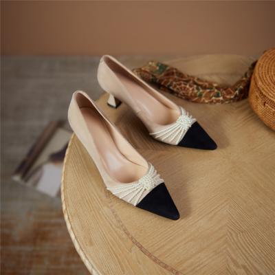 Black and Nude Vintage Spool Heel Suede Pumps Pearls Embellished Work Shoes