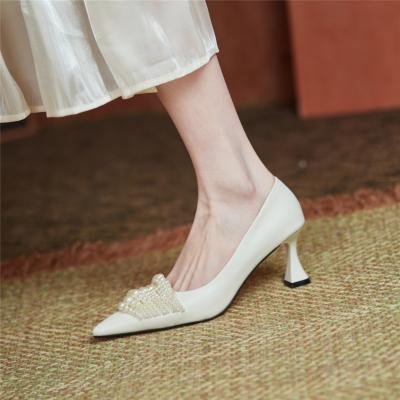 White Vintage Spool Heel Leather Pumps Pearls Embellished Work Shoes