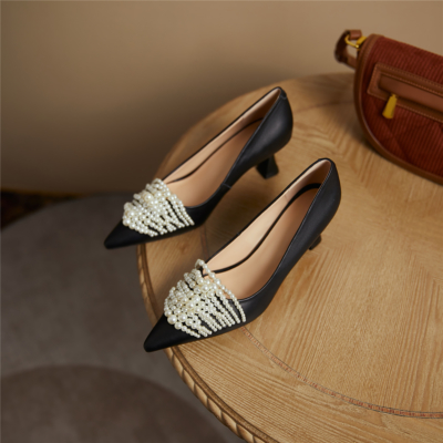 Black Vintage Spool Heel Leather Pumps Pearls Embellished Work Shoes
