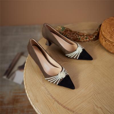Black and Olive Vintage Spool Heel Suede Pumps Pearls Embellished Work Shoes