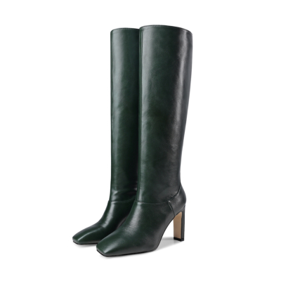 Olive Vintage Square Toe Women Pull On Tall Boots