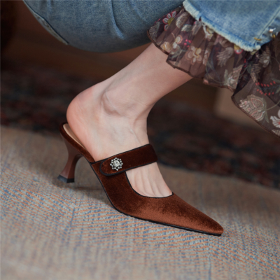 Brown Velvet Mules Heels Closed Toe Low-Heel Pumps with Crystals