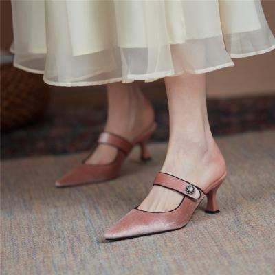 Pink Velvet Mules Heels Closed Toe Low-Heel Pumps with Crystals