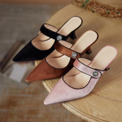 Vintage Velvet Mules Heels Closed Toe Low-Heel Pumps with Crystals