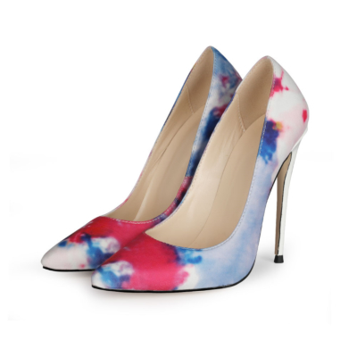 Watercolor Shoes 5 inch Heels Pumps Closed Toe Heels for Work