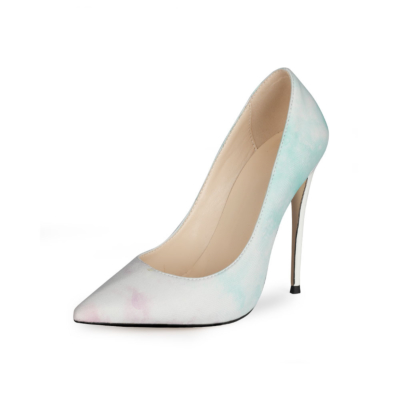 Green Watercolor Shoes 5 inch Heels Pumps Closed Toe Heels for Work