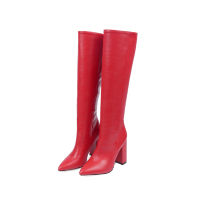 Red Waterproof Pull-on Heeled Knee High Boots Riding Boot